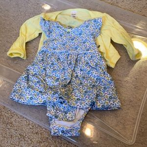 Carter's Blue Floral Dress Yellow Cardigan 3 month